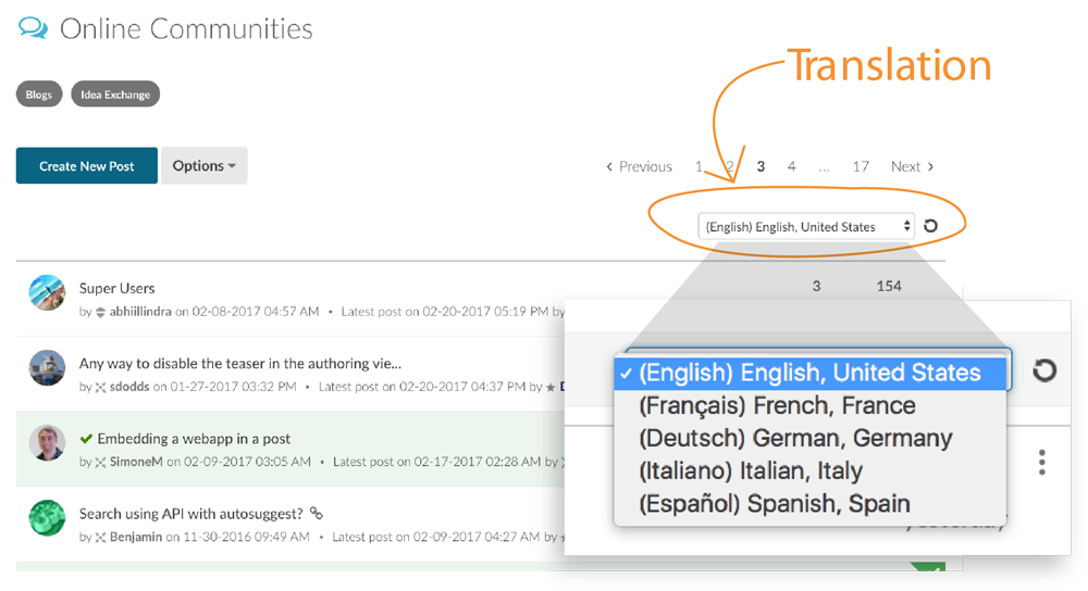Locate the language and translation pull-down menu in Lithium's online community