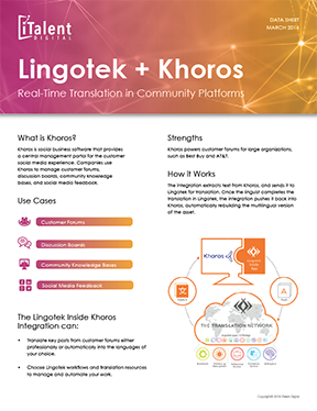 iTalent Digital + Khoros + Lingotek Dynamic Translation Connector flyer thumbnail