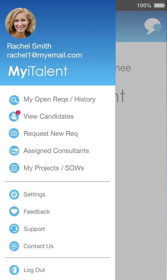 MyiTalent Enterprise Mobile App menu screen